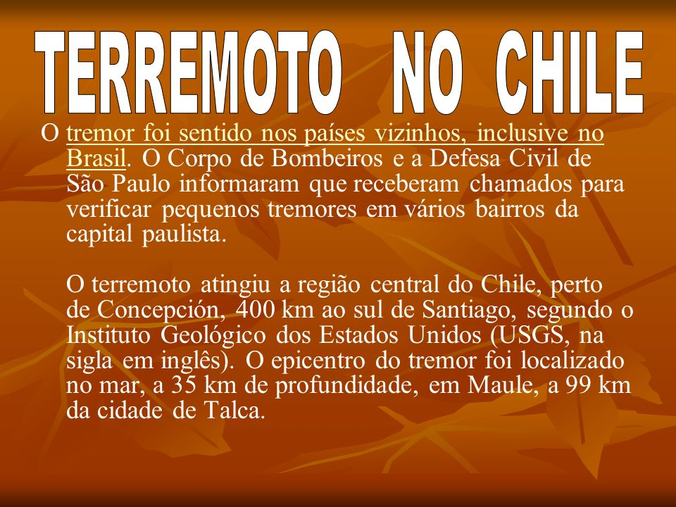 TERREMOTO NO CHILE