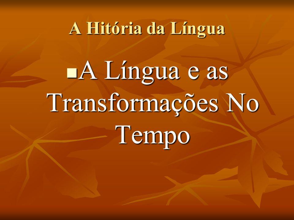 A Língua e as Transformações No Tempo