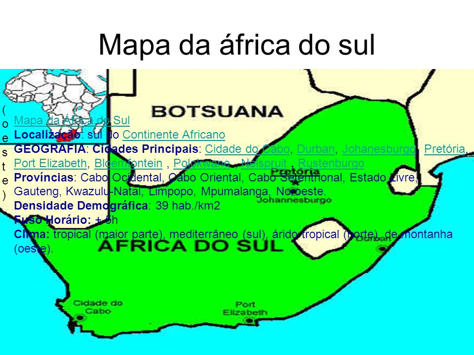 Mapa da áfrica do sul (oeste).