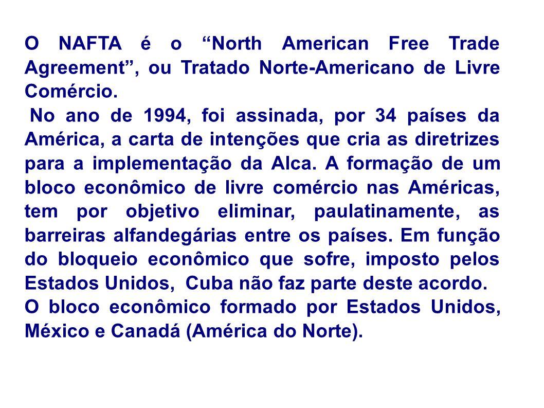 O NAFTA é o North American Free Trade Agreement , ou Tratado Norte-Americano de Livre Comércio.