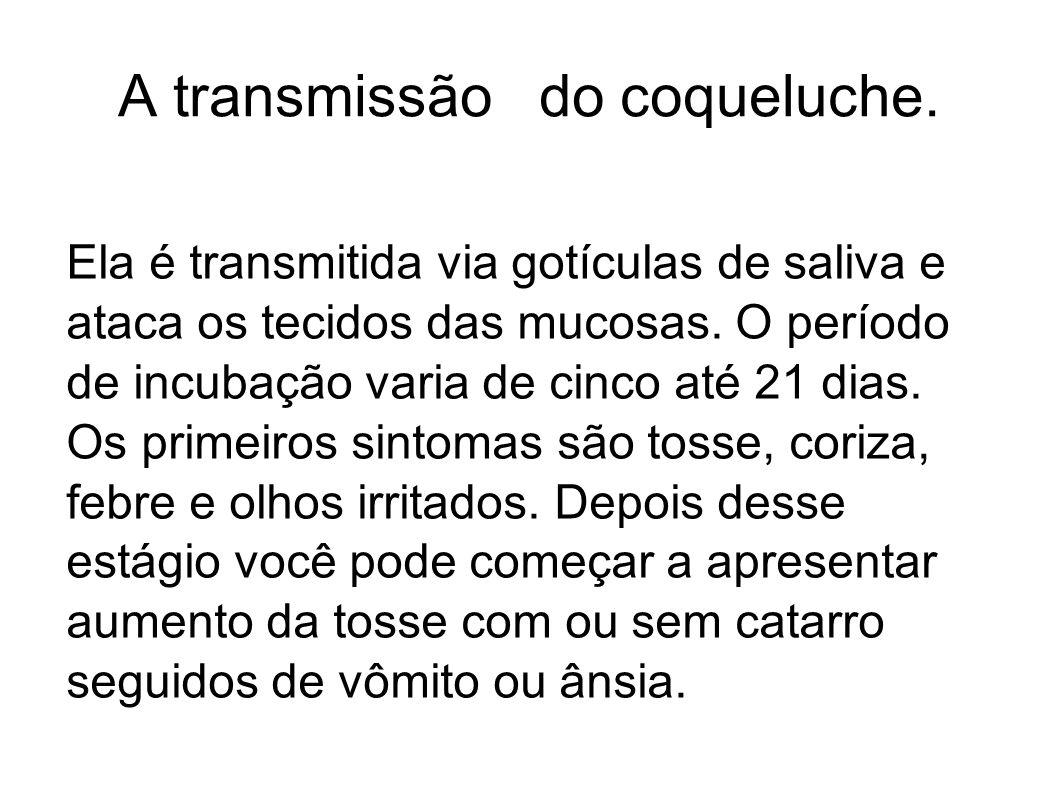 A transmissão do coqueluche.