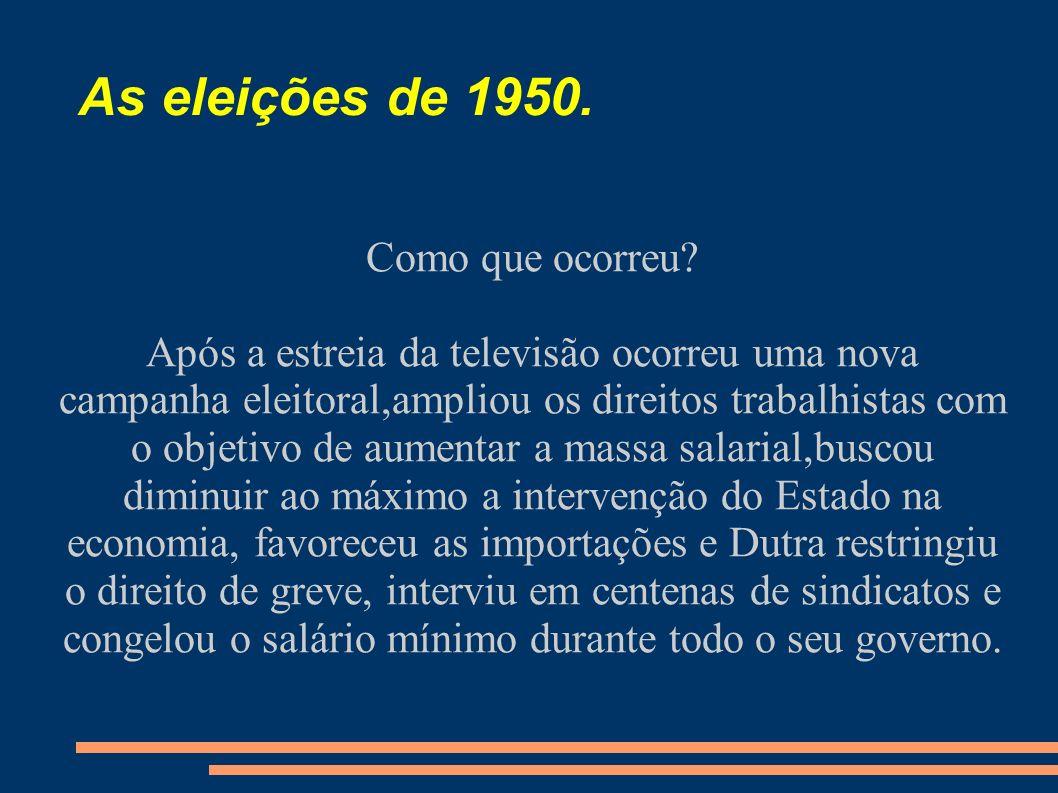 As eleições de 1950. Como que ocorreu