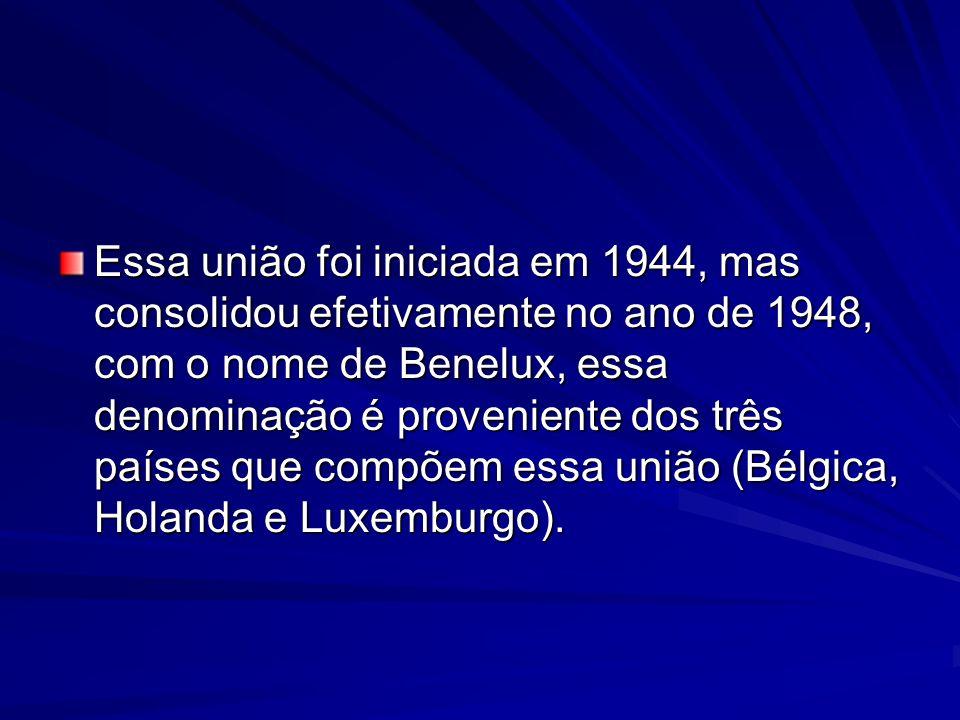 Essa união foi iniciada em 1944, mas consolidou efetivamente no ano de 1948, com o nome de Benelux, essa denominação é proveniente dos três países que compõem essa união (Bélgica, Holanda e Luxemburgo).