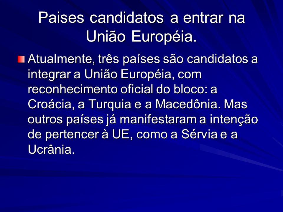 Paises candidatos a entrar na União Européia.