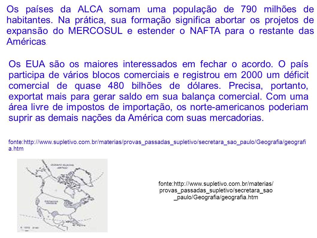 Os países da ALCA somam uma população de 790 milhões de habitantes