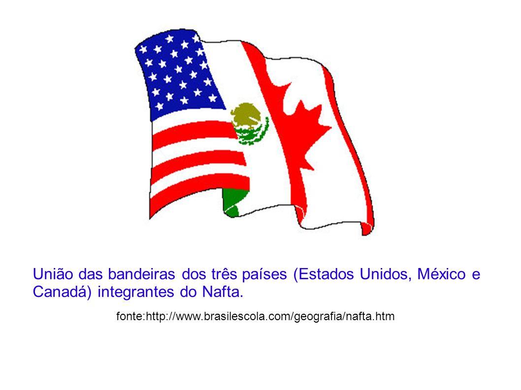 União das bandeiras dos três países (Estados Unidos, México e Canadá) integrantes do Nafta.