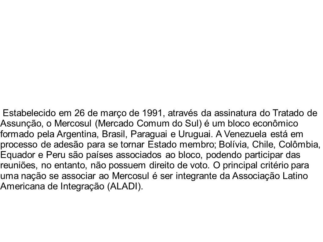 Estabelecido em 26 de março de 1991, através da assinatura do Tratado de Assunção, o Mercosul (Mercado Comum do Sul) é um bloco econômico formado pela Argentina, Brasil, Paraguai e Uruguai.