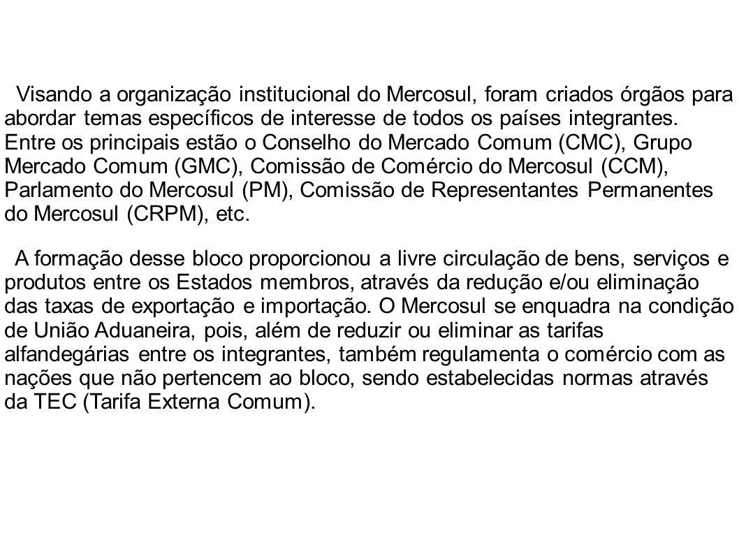 Visando a organização institucional do Mercosul, foram criados órgãos para abordar temas específicos de interesse de todos os países integrantes. Entre os principais estão o Conselho do Mercado Comum (CMC), Grupo Mercado Comum (GMC), Comissão de Comércio do Mercosul (CCM), Parlamento do Mercosul (PM), Comissão de Representantes Permanentes do Mercosul (CRPM), etc.