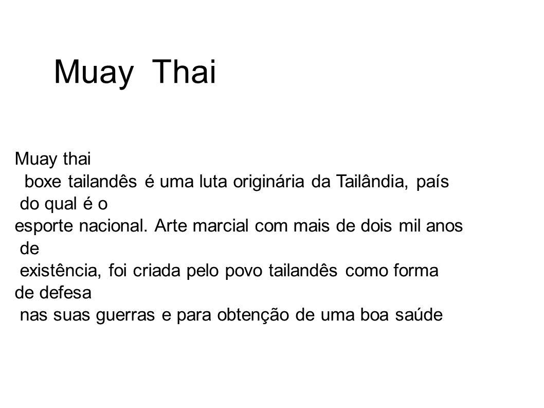 Muay Thai Muay thai. boxe tailandês é uma luta originária da Tailândia, país. do qual é o.