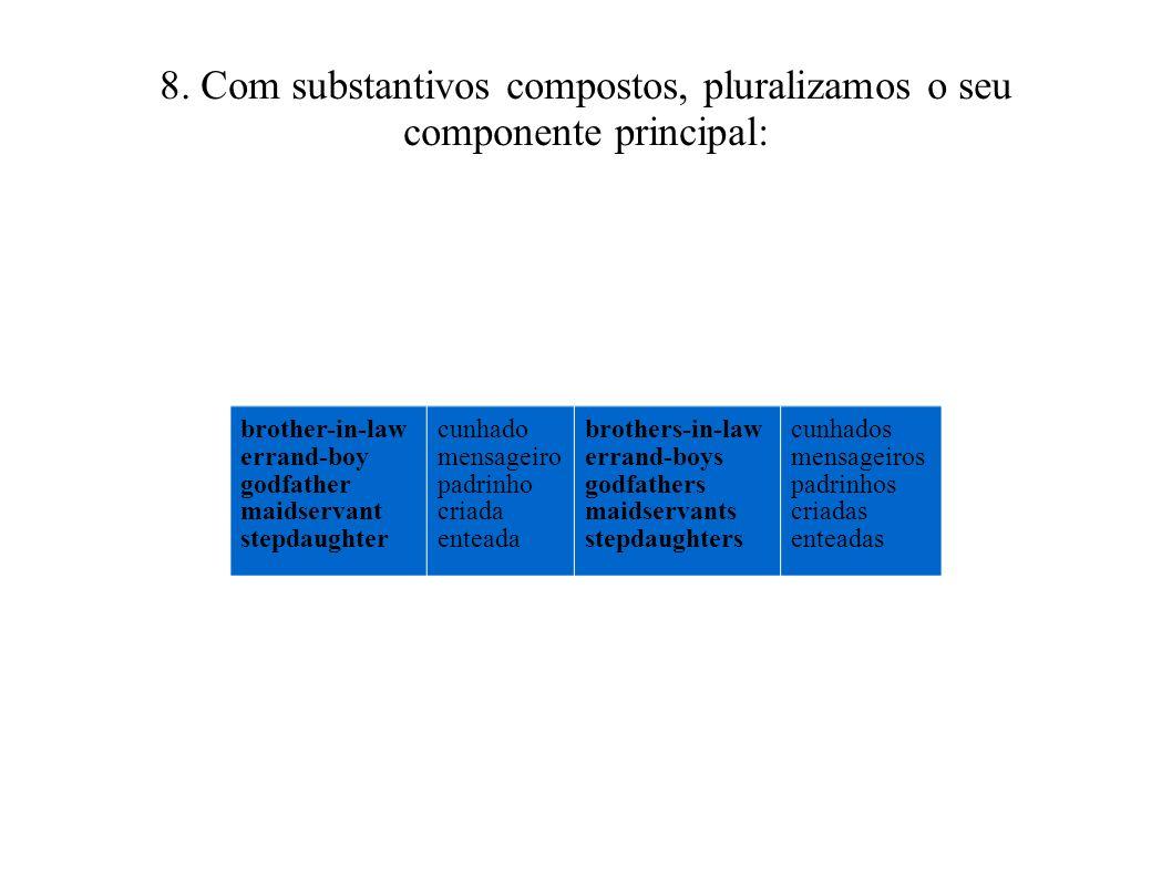 8. Com substantivos compostos, pluralizamos o seu componente principal:
