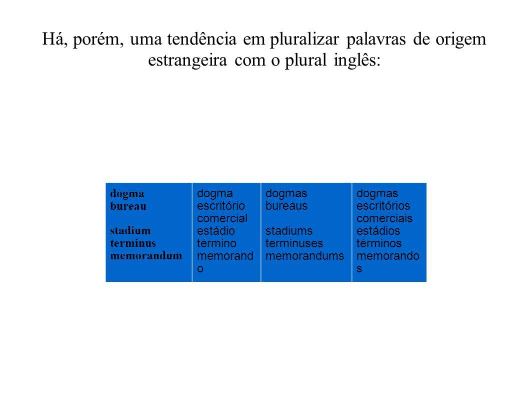 Há, porém, uma tendência em pluralizar palavras de origem estrangeira com o plural inglês: