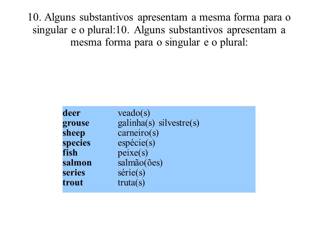 10. Alguns substantivos apresentam a mesma forma para o singular e o plural:10. Alguns substantivos apresentam a mesma forma para o singular e o plural: