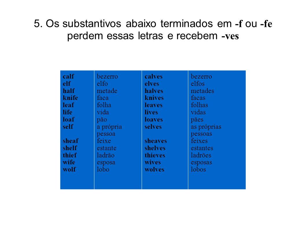 5. Os substantivos abaixo terminados em -f ou -fe perdem essas letras e recebem -ves