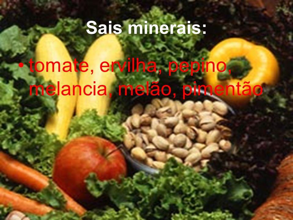 tomate, ervilha, pepino, melancia, melão, pimentão