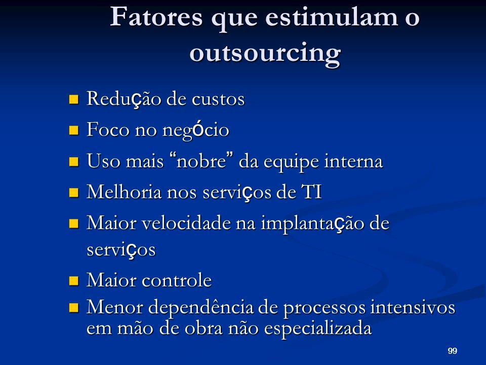 Fatores que estimulam o outsourcing