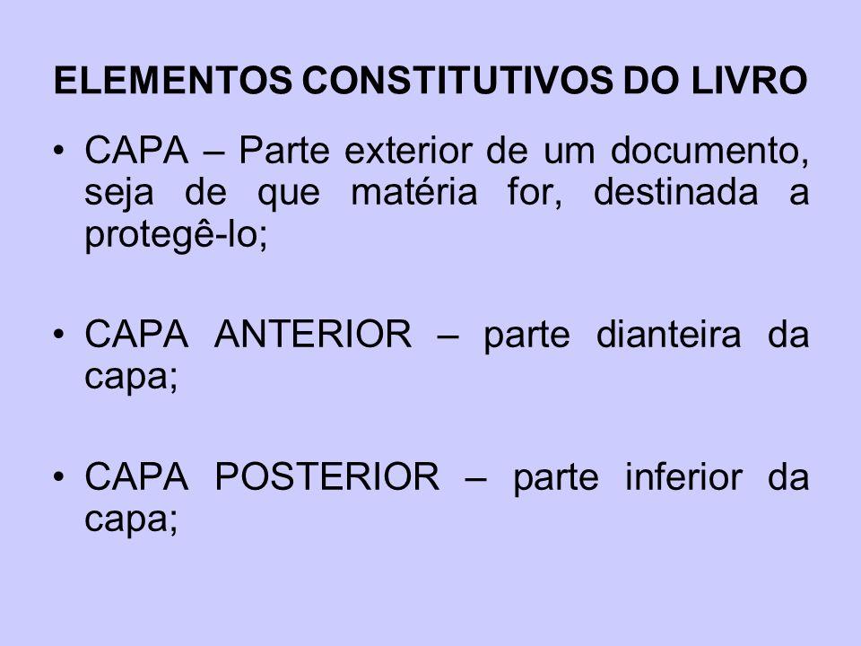 ELEMENTOS CONSTITUTIVOS DO LIVRO