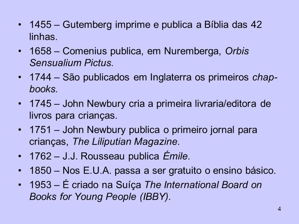 1455 – Gutemberg imprime e publica a Bíblia das 42 linhas.