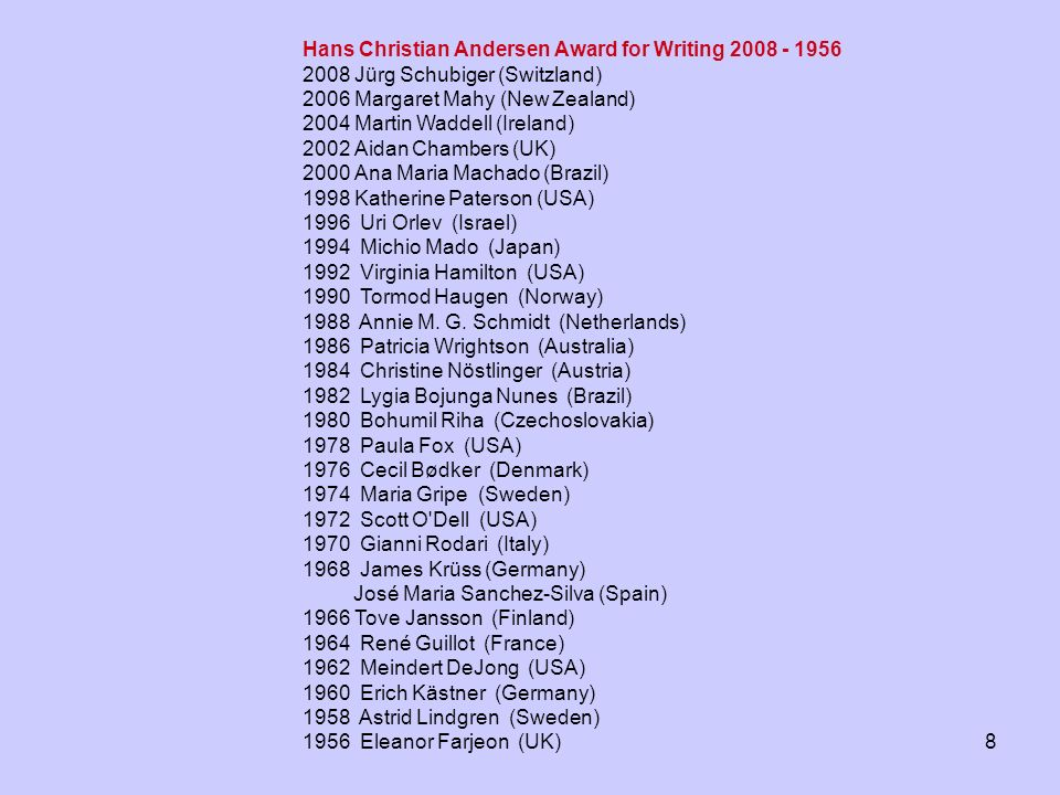 Hans Christian Andersen Award for Writing 2008 - 1956