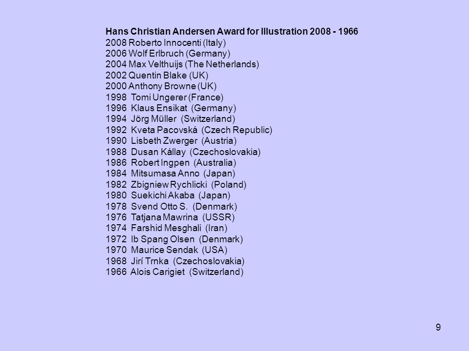 Hans Christian Andersen Award for Illustration 2008 - 1966