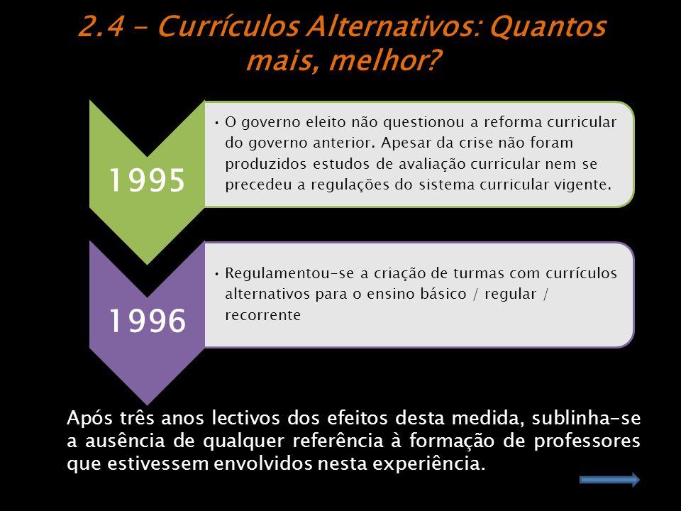 2.4 - Currículos Alternativos: Quantos mais, melhor
