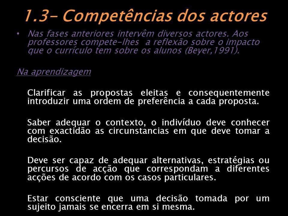 1.3- Competências dos actores