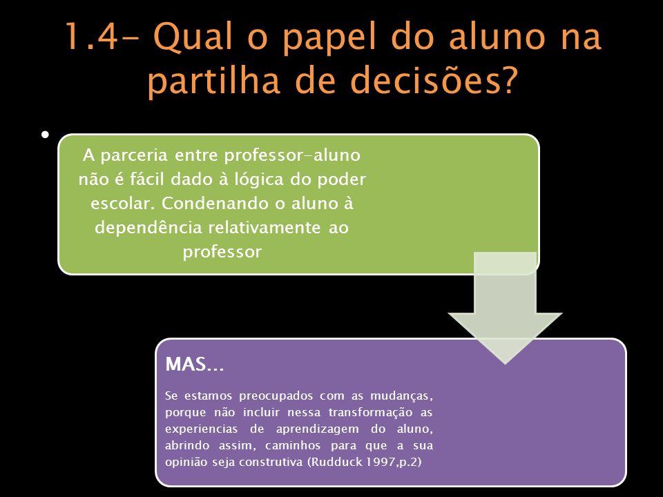 1.4- Qual o papel do aluno na partilha de decisões