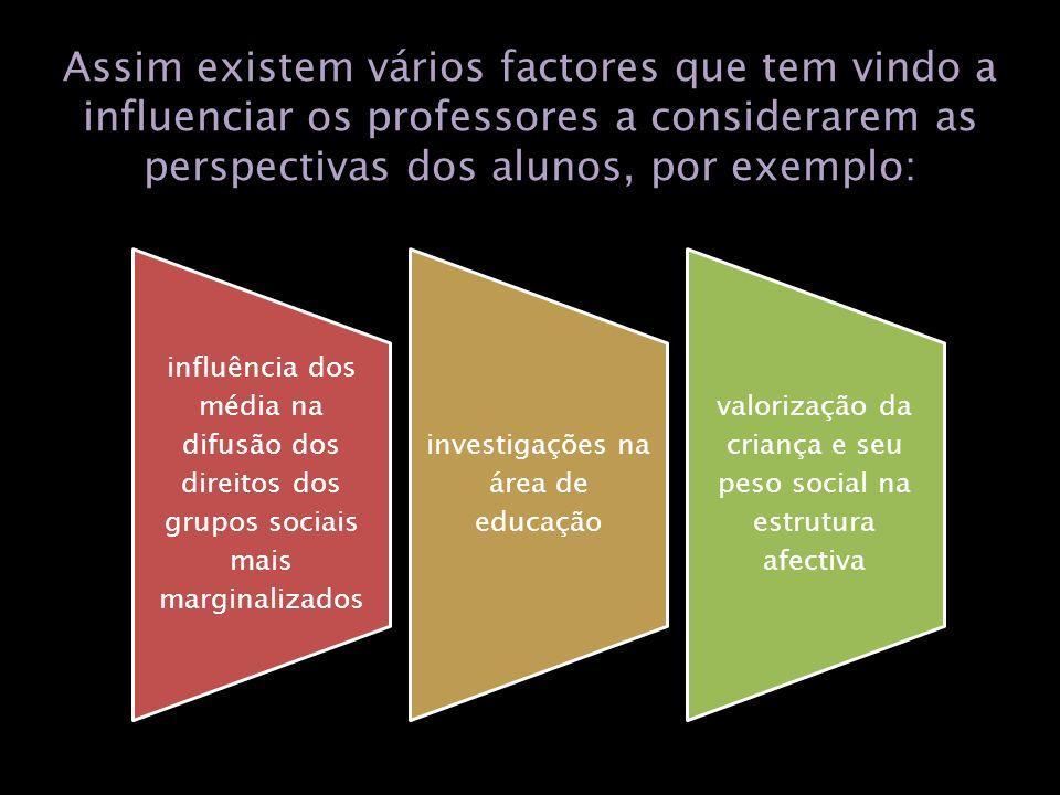 Assim existem vários factores que tem vindo a influenciar os professores a considerarem as perspectivas dos alunos, por exemplo: