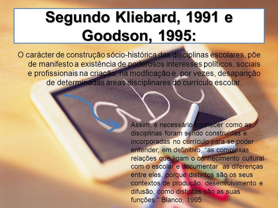 Segundo Kliebard, 1991 e Goodson, 1995: