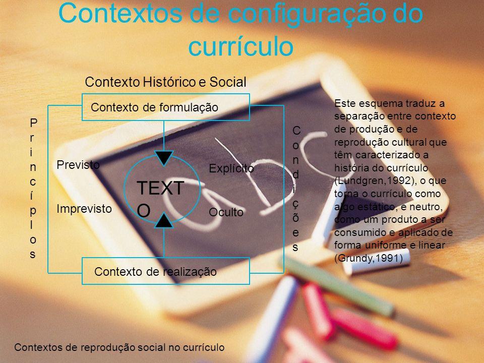 Contextos de configuração do currículo