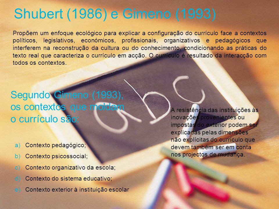 Shubert (1986) e Gimeno (1993)