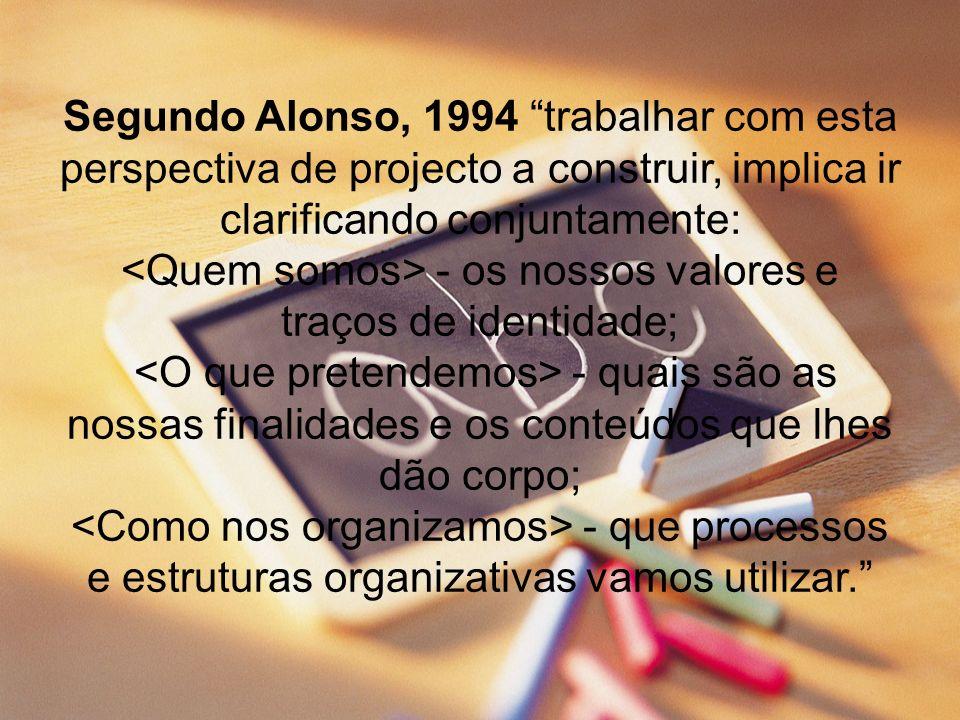 Segundo Alonso, 1994 trabalhar com esta perspectiva de projecto a construir, implica ir clarificando conjuntamente: <Quem somos> - os nossos valores e traços de identidade; <O que pretendemos> - quais são as nossas finalidades e os conteúdos que lhes dão corpo; <Como nos organizamos> - que processos e estruturas organizativas vamos utilizar.
