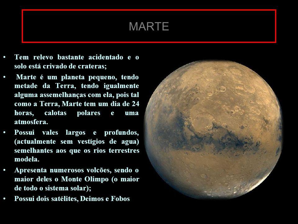 MARTE Tem relevo bastante acidentado e o solo está crivado de crateras;