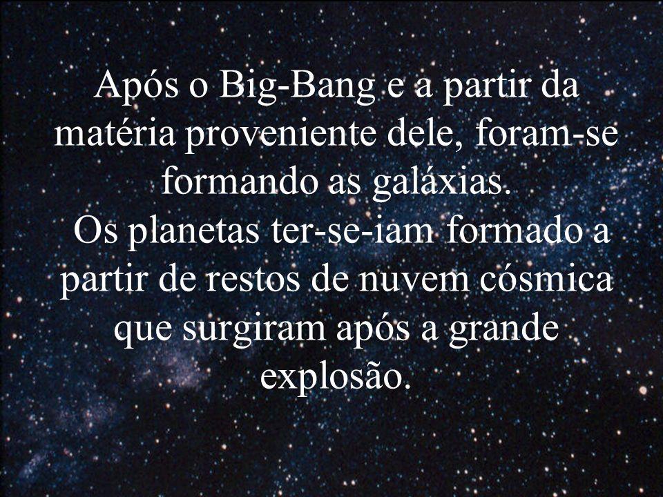 Após o Big-Bang e a partir da matéria proveniente dele, foram-se formando as galáxias.