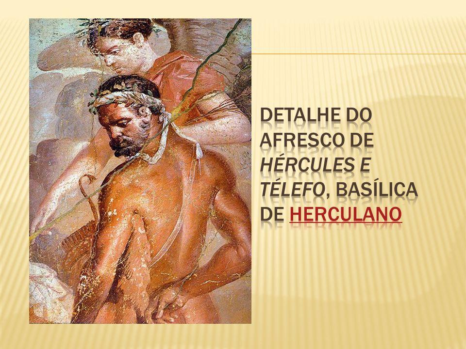 Detalhe do afresco de Hércules e Télefo, Basílica de Herculano