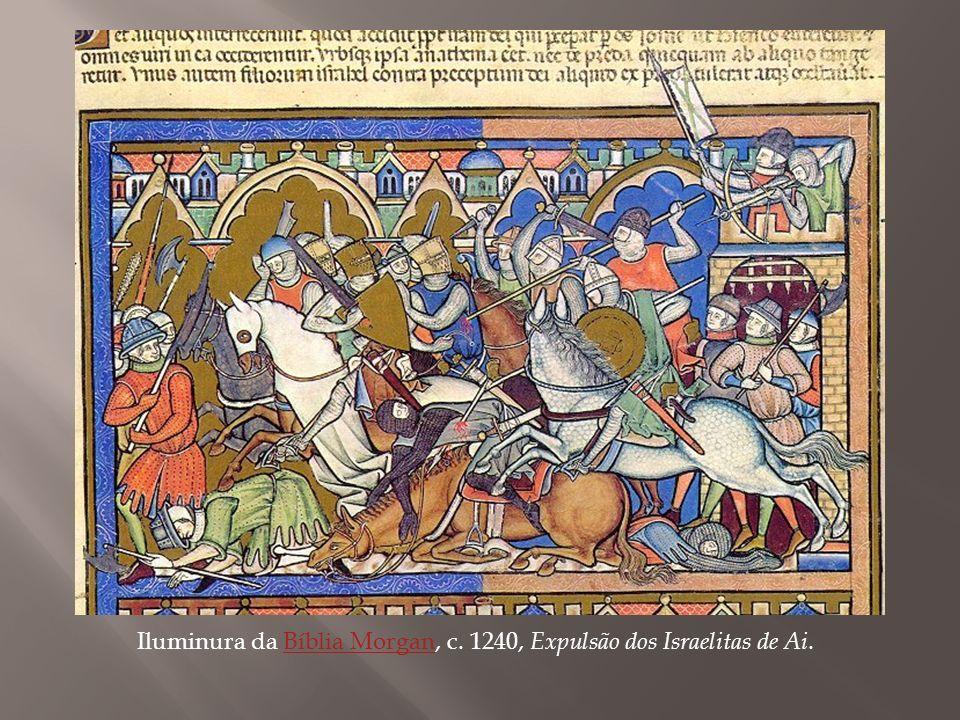 Iluminura da Bíblia Morgan, c. 1240, Expulsão dos Israelitas de Ai.
