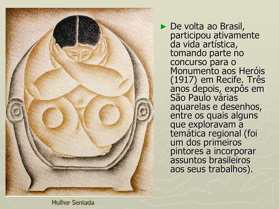 De volta ao Brasil, participou ativamente da vida artística, tomando parte no concurso para o Monumento aos Heróis (1917) em Recife. Três anos depois, expôs em São Paulo várias aquarelas e desenhos, entre os quais alguns que exploravam a temática regional (foi um dos primeiros pintores a incorporar assuntos brasileiros aos seus trabalhos).