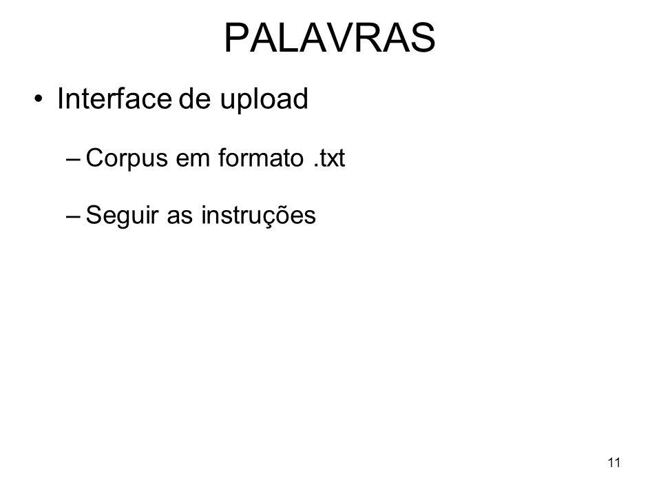 PALAVRAS Interface de upload Corpus em formato .txt