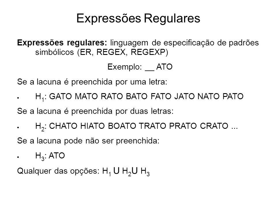 Expressões Regulares Expressões regulares: linguagem de especificação de padrões simbólicos (ER, REGEX, REGEXP)