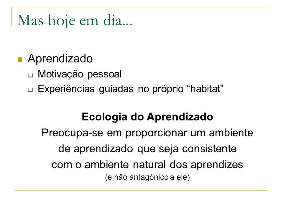 Mas hoje em dia... Aprendizado Ecologia do Aprendizado