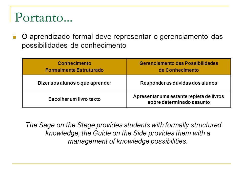 Portanto... O aprendizado formal deve representar o gerenciamento das possibilidades de conhecimento.