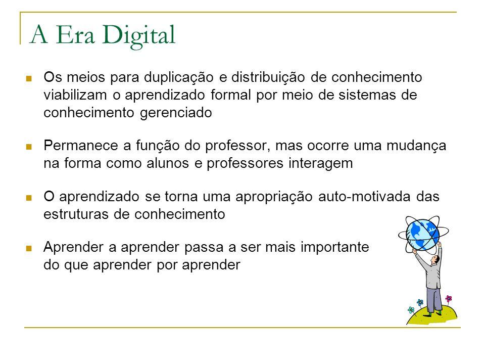 A Era Digital Os meios para duplicação e distribuição de conhecimento viabilizam o aprendizado formal por meio de sistemas de conhecimento gerenciado.