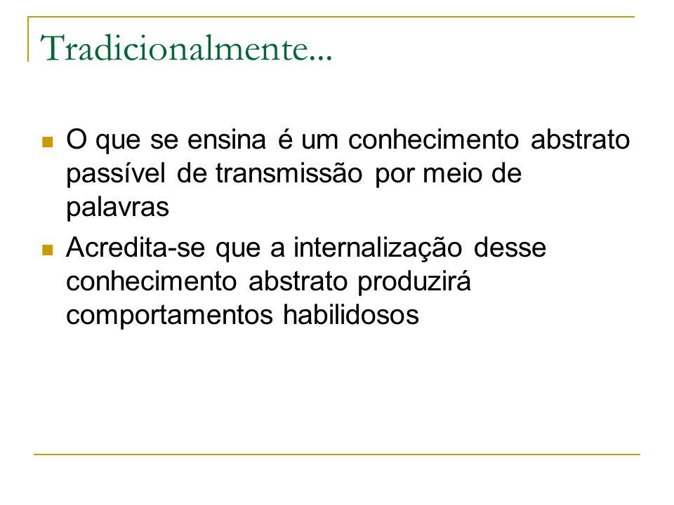 Tradicionalmente... O que se ensina é um conhecimento abstrato passível de transmissão por meio de palavras.
