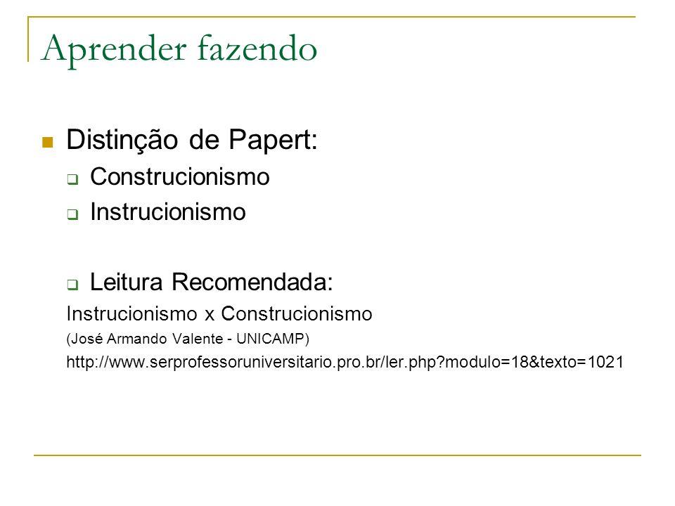 Aprender fazendo Distinção de Papert: Construcionismo Instrucionismo