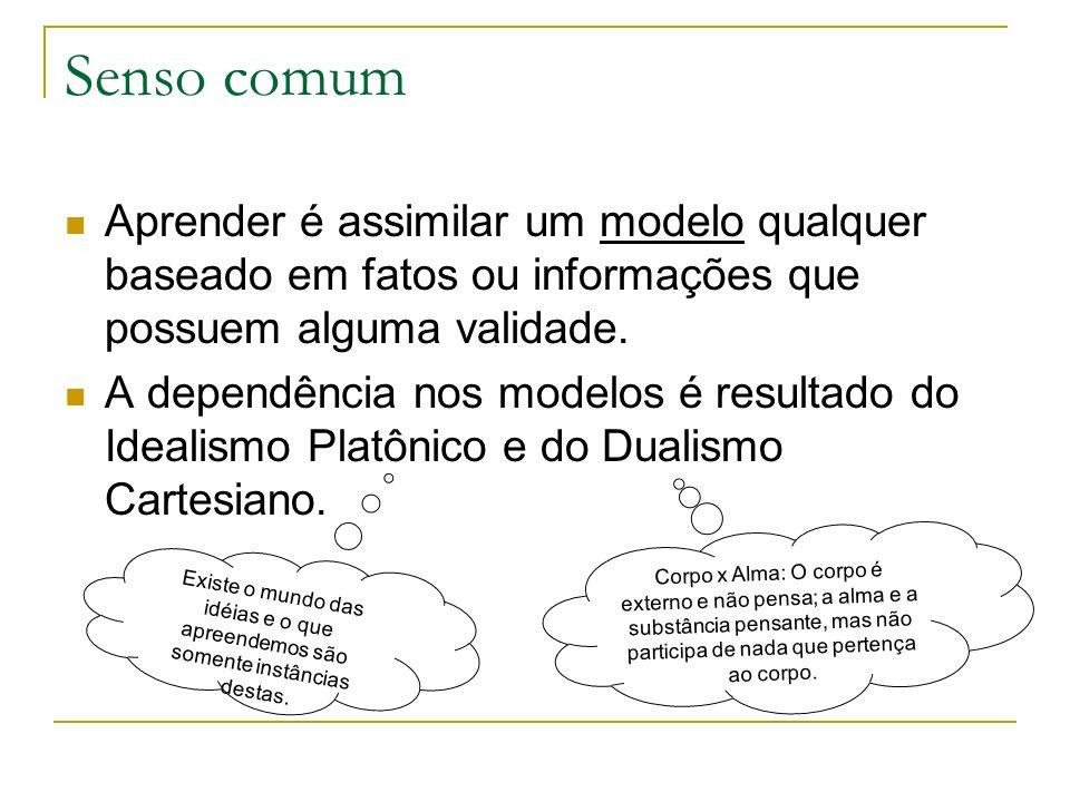 Senso comum Aprender é assimilar um modelo qualquer baseado em fatos ou informações que possuem alguma validade.