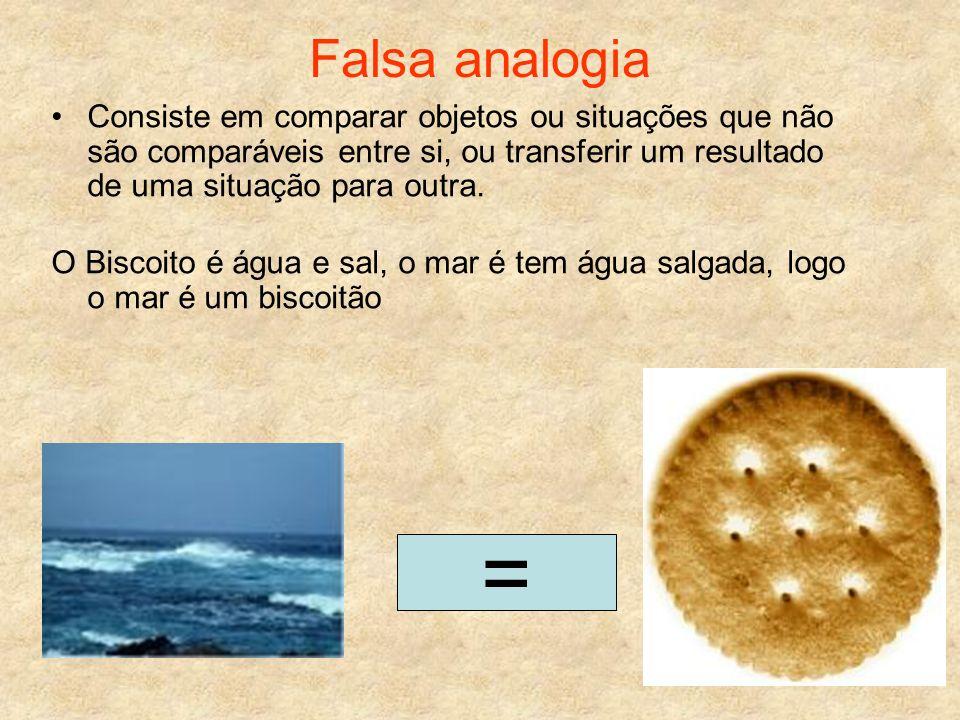 Falsa analogia Consiste em comparar objetos ou situações que não são comparáveis entre si, ou transferir um resultado de uma situação para outra.