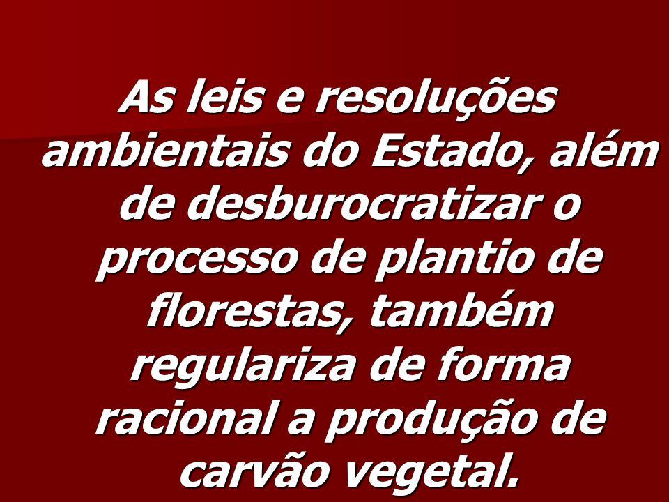 As leis e resoluções ambientais do Estado, além de desburocratizar o processo de plantio de florestas, também regulariza de forma racional a produção de carvão vegetal.