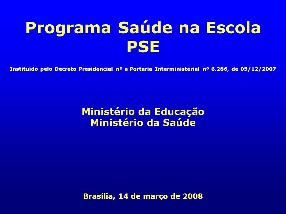 Programa Saúde na Escola Ministério da Educação