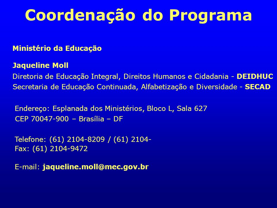 Coordenação do Programa