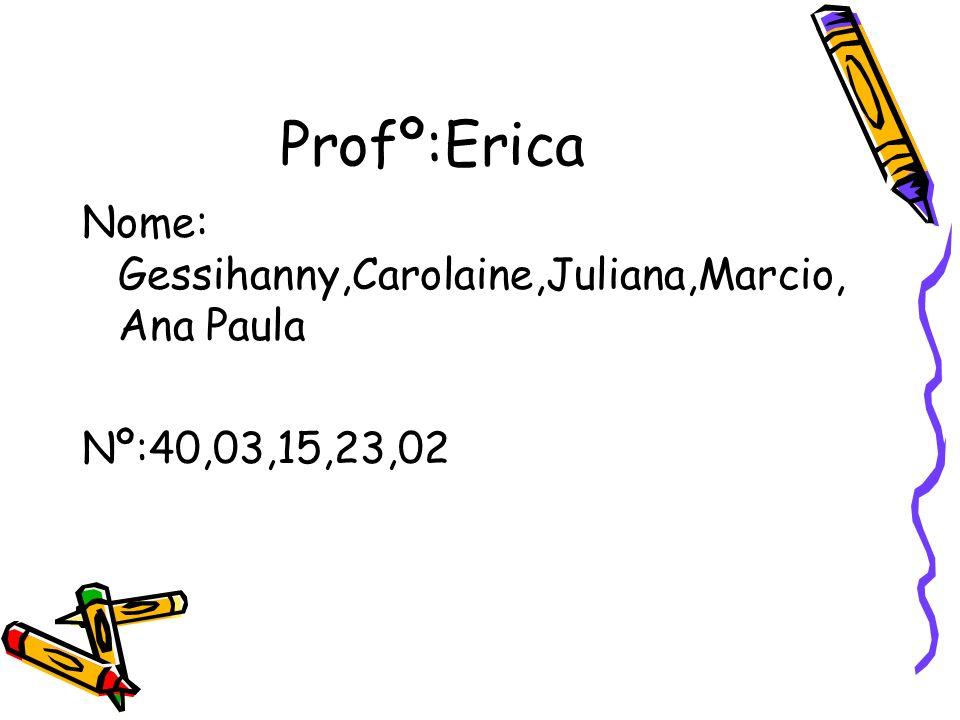 Profº:Erica Nome: Gessihanny,Carolaine,Juliana,Marcio,Ana Paula
