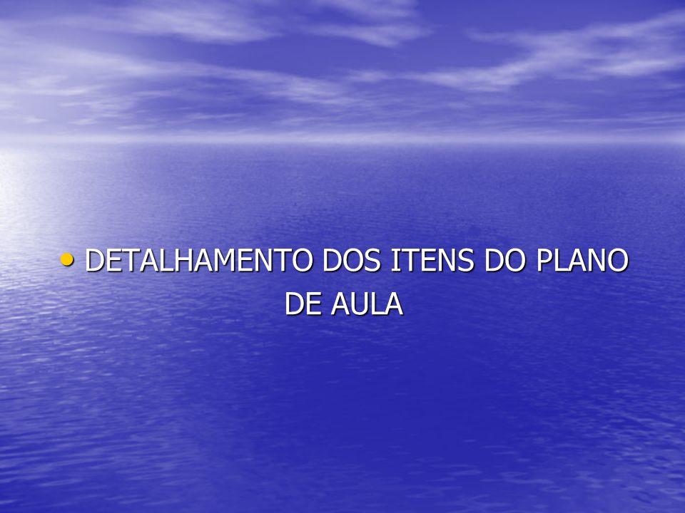 DETALHAMENTO DOS ITENS DO PLANO